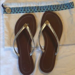 Tory Burch Silver with Gold Leather flip flops